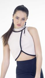 High Choker Detail Wrap Crop Top_crop